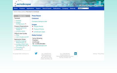Screenshot of Press Page octoscope.com - Press Room of octoScope - captured Sept. 20, 2018