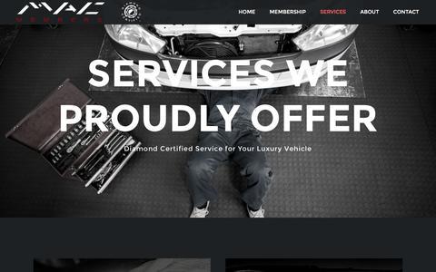 Screenshot of Services Page macmembers.com - Services – MAC Members - captured Nov. 17, 2016