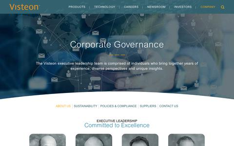 Screenshot of Team Page visteon.com - Visteon | Corporate Governance - captured Feb. 17, 2019