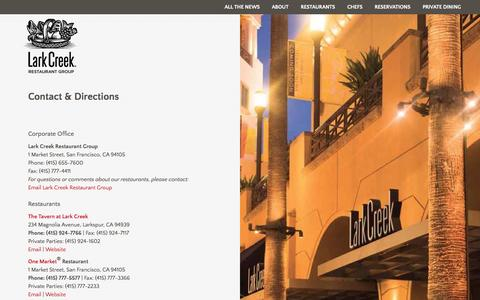 Screenshot of Contact Page larkcreek.com - Contact & Directions | Lark Creek Restaurant Group - captured Oct. 1, 2014
