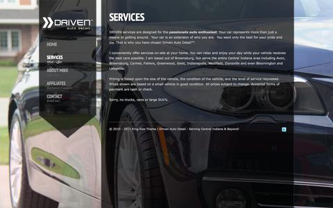 Screenshot of Services Page drivenautodetail.com - Driven Auto Detail |   Services - captured Oct. 8, 2014