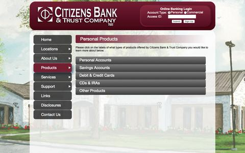Screenshot of Products Page citizensbt.com - Personal Products - Citizens Bank & Trust Company - captured Oct. 31, 2018
