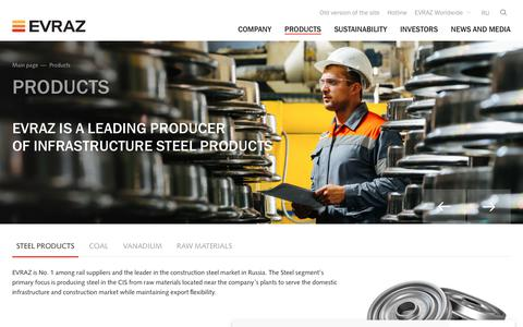 Screenshot of Products Page evraz.com - Products - EVRAZ - captured July 18, 2019