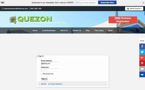 Screenshot of Login Page explorer4quezon.com - Sign in - Explorer 4 Quezon - Quezon Business Directory - captured Nov. 14, 2016