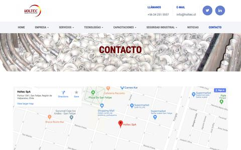 Screenshot of Contact Page holtec.cl - CONTACTO – Holtec - captured Sept. 29, 2018
