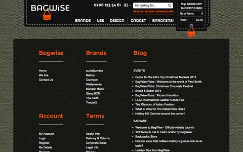 Screenshot of Site Map Page bagwise.com - Sitemap of BagWise carry bag specialist online webshop || Bagwise.Com - captured Sept. 30, 2014