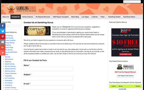 Screenshot of Contact Page gamblinggurus.com - Contact Us at Gambling Gurus - Use Our Contact Us Form - captured June 15, 2018