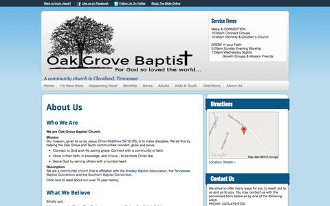 Screenshot of About Page oakgrovebaptistchurchtn.com - About Us | Oak Grove Baptist Church - captured Oct. 31, 2014