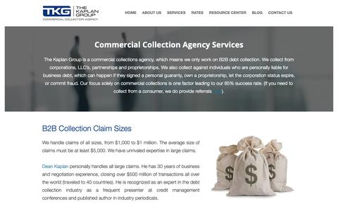 Screenshot of Services Page kaplancollectionagency.com - Debt Collection Agency Services - captured Oct. 18, 2018
