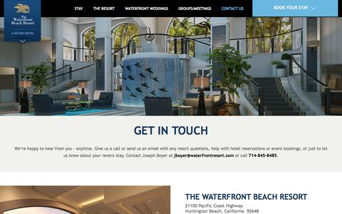 Screenshot of Contact Page waterfrontresort.com - Contact Us | The Waterfront Beach Resort, a Hilton Hotel CA - captured Sept. 22, 2018