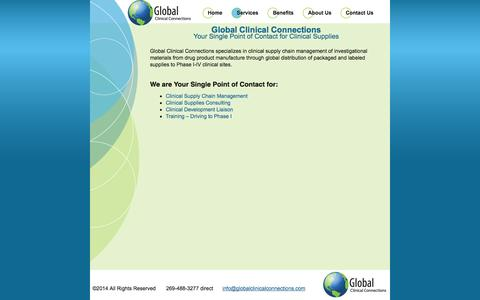 Screenshot of Services Page globalclinicalconnections.com - Services   GCC - captured Sept. 30, 2014