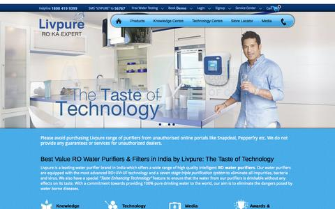 Screenshot of Home Page livpurewater.com - Water Purifier India, Best Price RO,UV Home Water Purifiers Buy Online - captured Sept. 25, 2014