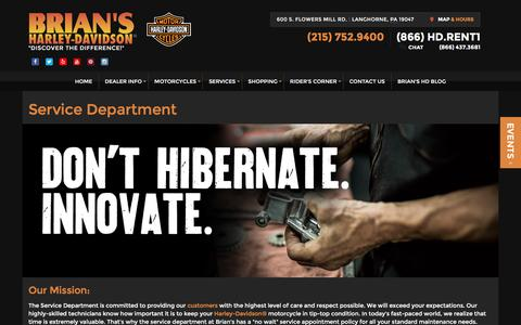 Screenshot of Services Page brianshd.com - Service Department | Brian's Harley-Davidson® | Langhorne Pennsylvania - captured Feb. 8, 2016