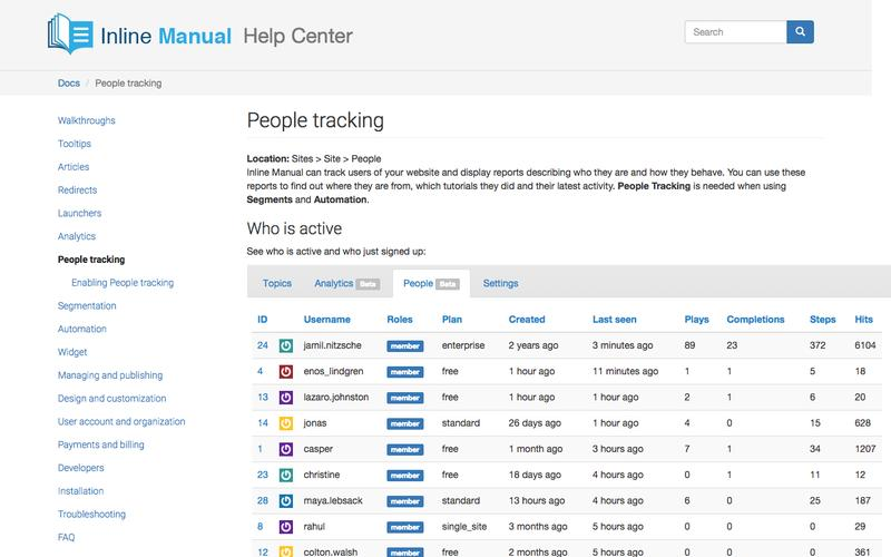 People tracking | Inline Manual Help Center