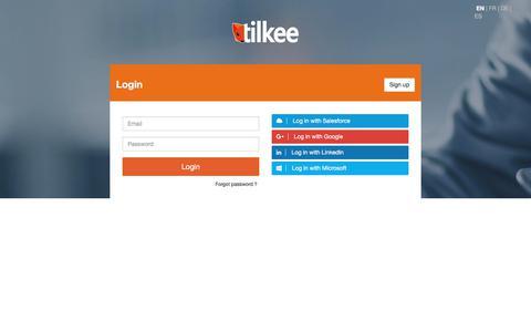 Screenshot of Trial Page Login Page tilkee.com - Tilkee - captured June 29, 2017