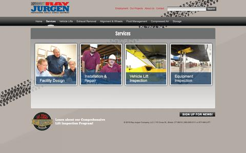 Screenshot of Services Page rayjurgen.com - Ray-Jurgen Company –Leaders in Professional Vehicle Service Equipment - captured Oct. 20, 2018