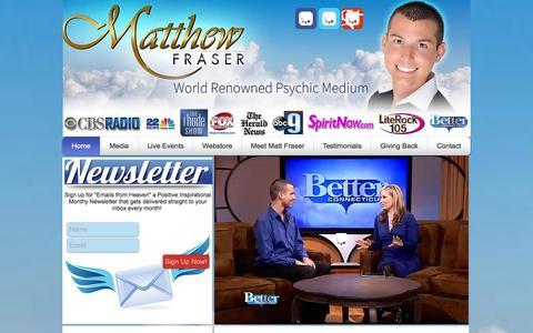 Screenshot of Home Page meetmattfraser.com - Matthew Fraser World Renowned Psychic Medium| Boston Massachusetts - captured Oct. 6, 2014