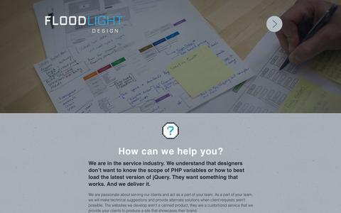 Screenshot of Services Page floodlightdesign.com - Services | Floodlight Design - captured Sept. 30, 2014