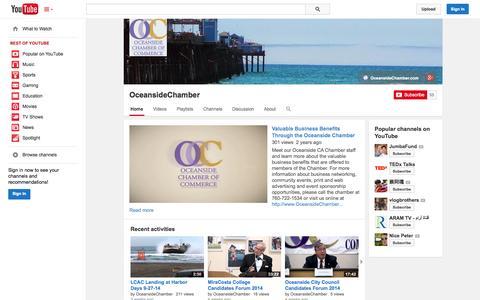 Screenshot of YouTube Page youtube.com - OceansideChamber  - YouTube - captured Oct. 24, 2014