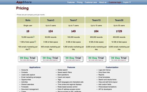 Screenshot of Pricing Page appshore.com - AppShore - Online Customer Relationship Management for Small Business - captured July 8, 2018