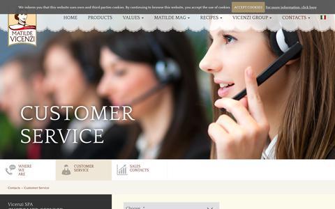Screenshot of Support Page matildevicenzi.com - Matilde Vicenzi- Customer service - captured Nov. 4, 2017