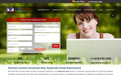 Screenshot of Home Page scholarsjunction.com - Assignment Help, Homework Help, Online Tutoring, Essay Writing Services   Scholars Junction - captured June 17, 2015