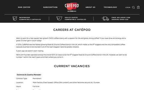 Screenshot of Jobs Page cafepod.com - Careers at CaféPod - captured July 11, 2017