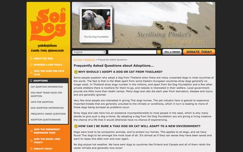 Screenshot of FAQ Page soidog.org - Soi Dog Foundation - Frequently Asked Questions - captured Sept. 23, 2014