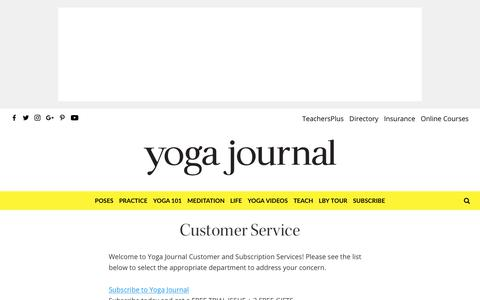 Customer Service - Yoga Journal