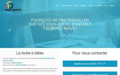 Screenshot of Contact Page sous-bock.fr - Contactez SOUS-BOCK - nous relevons vos défis de sous-bocks originaux - captured Oct. 29, 2018