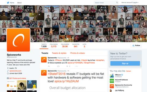 Screenshot of Twitter Page twitter.com - Spiceworks (@Spiceworks) | Twitter - captured Oct. 1, 2015