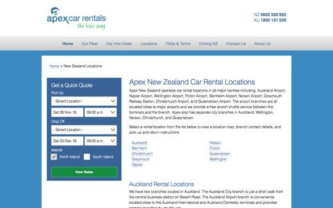 New Zealand Car Hire Locations - Apex Car Rentals New Zealand