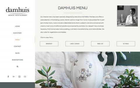 Screenshot of Menu Page diedamhuis.co.za - The Menu | Damhuis Restaurant - Melkbosstrand West Coast - captured Oct. 12, 2017