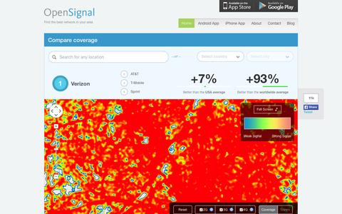 Screenshot of Home Page opensignal.com - 3G and 4G LTE Cell Coverage Map - OpenSignal - captured Dec. 3, 2015