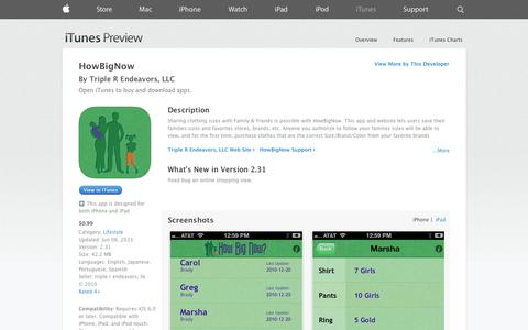 Screenshot of iOS App Page apple.com - HowBigNow on the App Store on iTunes - captured Oct. 22, 2014