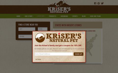 Screenshot of Locations Page krisers.com - Locations | Natural Pet Supplies & Grooming | Kriser's - captured Jan. 26, 2016