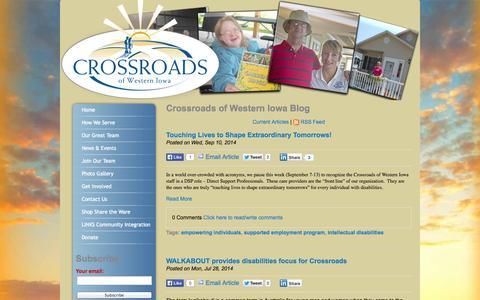 Screenshot of Blog explorecrossroads.com - Crossroads of Western Iowa Blog - captured Oct. 3, 2014