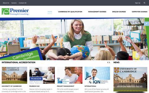 Screenshot of Home Page premier-eg.com - Premier Training & Consulting - captured Jan. 30, 2016