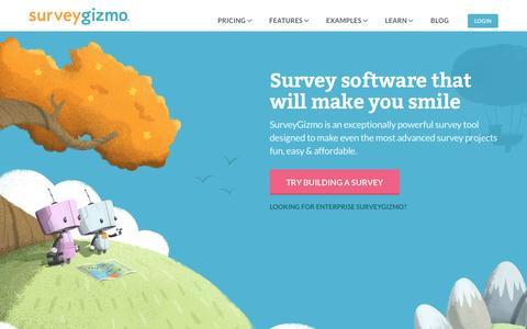 Screenshot of Home Page surveygizmo.com - SurveyGizmo   Professional Online Survey Software & Form Builder - captured Dec. 7, 2015