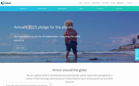 Screenshot of About Page amcor.com - Amcor | About - captured March 25, 2019