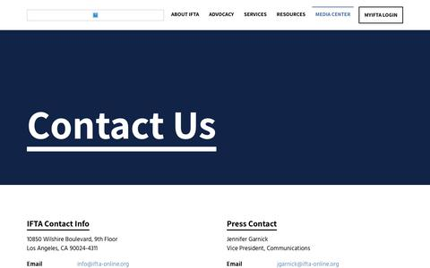 Screenshot of Contact Page ifta-online.org - Contact Us | Independent Film & Television Alliance - captured Jan. 5, 2020