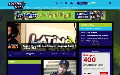 Screenshot of Home Page latino1027.com - Latino 102.7 - captured Sept. 19, 2015