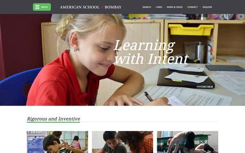 Screenshot of Home Page asbindia.org - American School of Bombay - captured Feb. 6, 2016