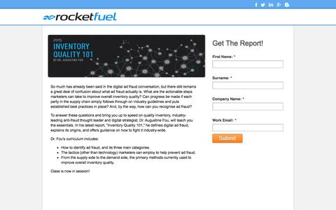 Screenshot of Landing Page rocketfuel.com - Inventory Quality 101 - captured June 7, 2016