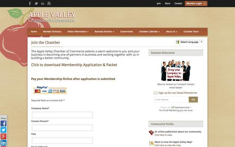 Screenshot of Signup Page avchamber.org - Join the Chamber - Apple Valley Chamber of Commerce - captured Oct. 4, 2014