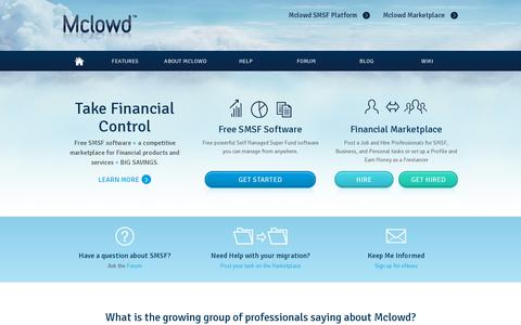 Screenshot of Home Page mclowd.com - Self Managed Superannuation Funds Australia | SMSF Accounting Software | Mclowd - captured July 11, 2014