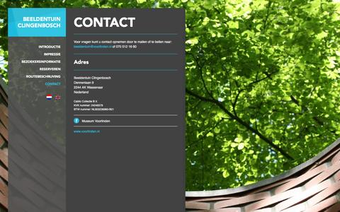 Screenshot of Contact Page beeldentuinclingenbosch.nl - Contact - Beeldentuin Clingenbosch - captured Jan. 25, 2016