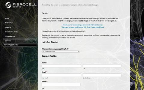 Screenshot of Jobs Page fibrocellscience.com - Fibrocell Science - captured Sept. 16, 2014