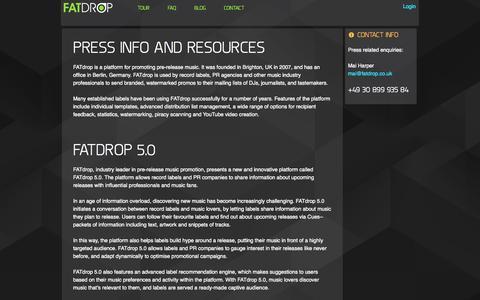 Screenshot of Press Page fatdrop.co.uk - FATdrop - digital music services - captured Sept. 24, 2014