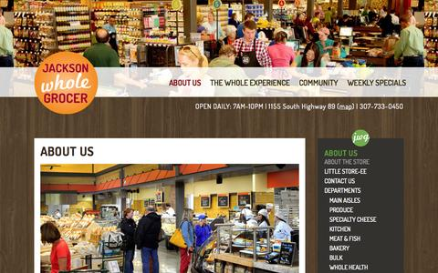 Screenshot of About Page jacksonwholegrocer.com - About Us - Jackson Whole Grocer - captured Sept. 30, 2014